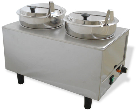 Benchmark USA 51072P Dual Well Warmer 2 Ladles/Lids