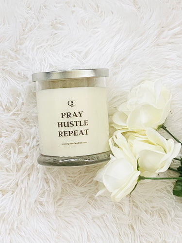 Pray Hustle Repeat Motivational Soy Candle
