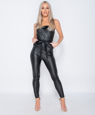 Leather look Jumpsuit
