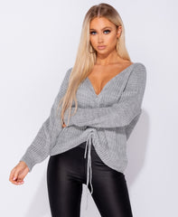 Attagirl Rib Knit Tie Jumper