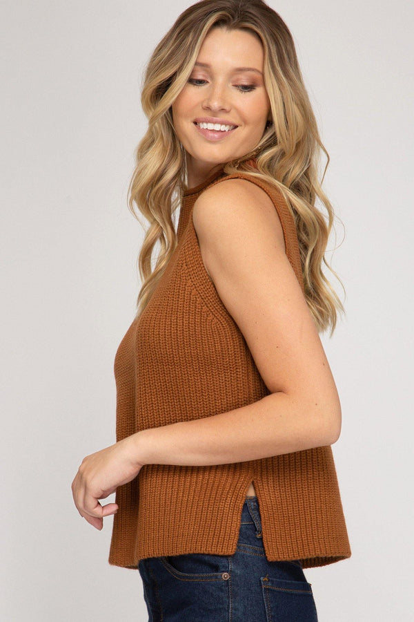 Sleeveless High Neck Knit Sweater Top