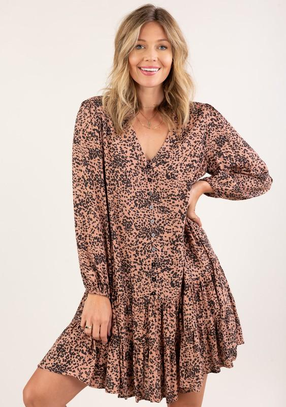 Abstract Animal Print Button Up Mini Dress