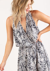 Snakeskin Surplice Mini Dress