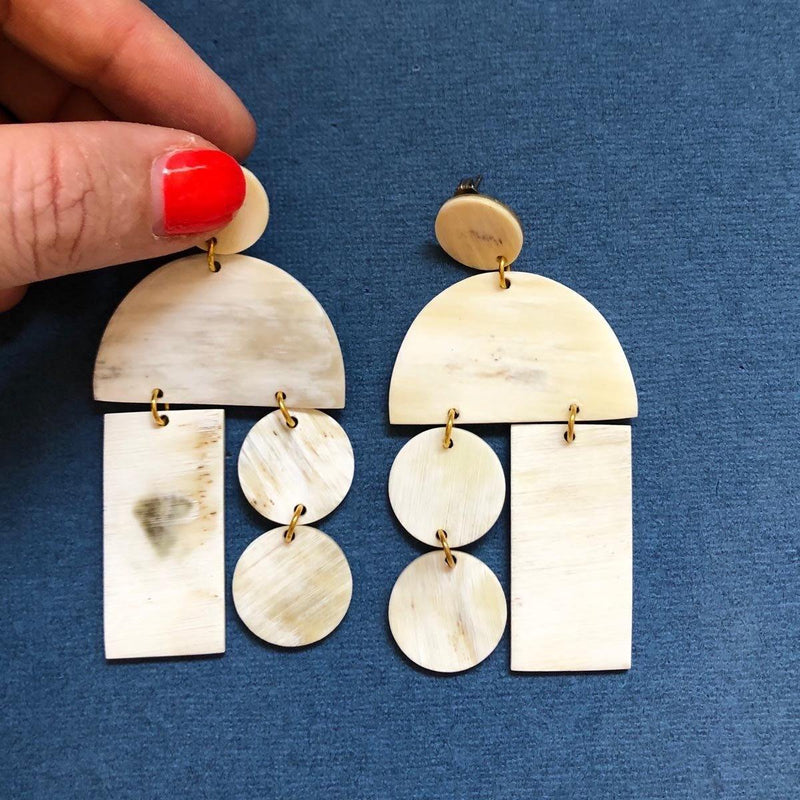 Natural Horn Mobile Earring