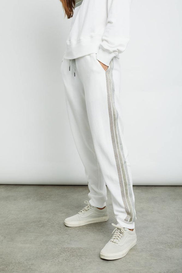 Oakland Jogger in White Metallic - Traveling Chic Boutique, VA