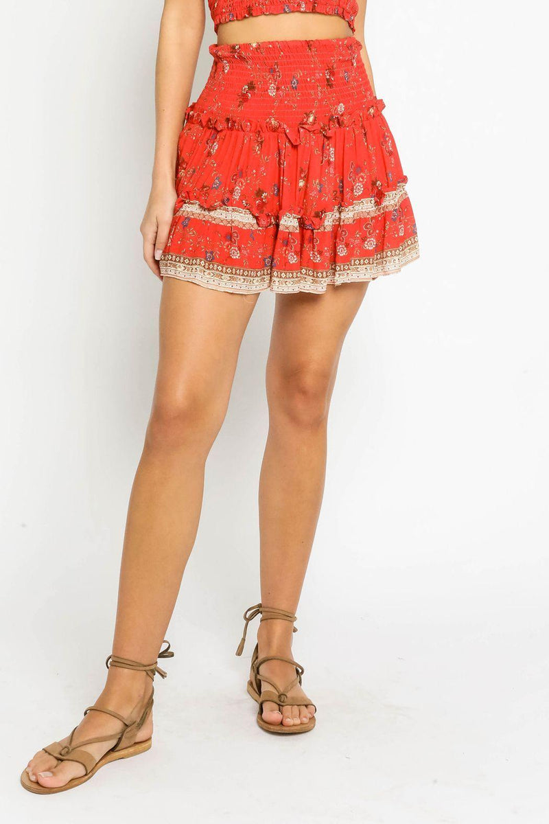 Red Floral Smock Skirt - Traveling Chic Boutique, VA