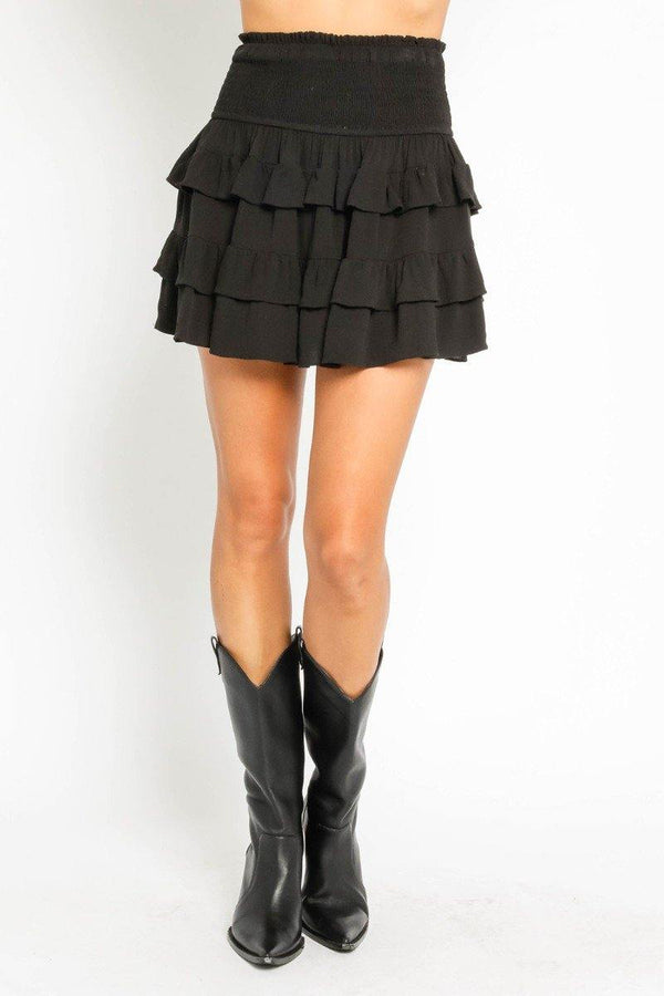 Black Smocked Mini Skirt