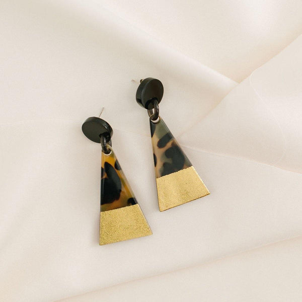 Gold Dipped Triangle Earring