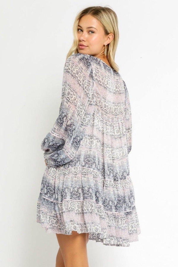 Lavender Paisley Babydoll Dress