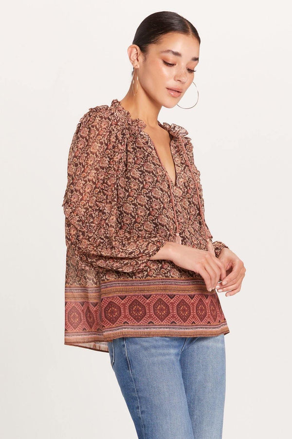 Brown Tapestry Peasant Blouse