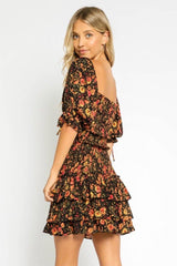 Autumn Floral Smocked Dress