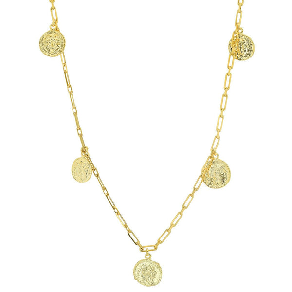 Chain Necklace with Coin Charms