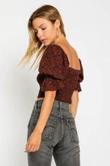 Rust Print Crop Top - Traveling Chic Boutique, VA