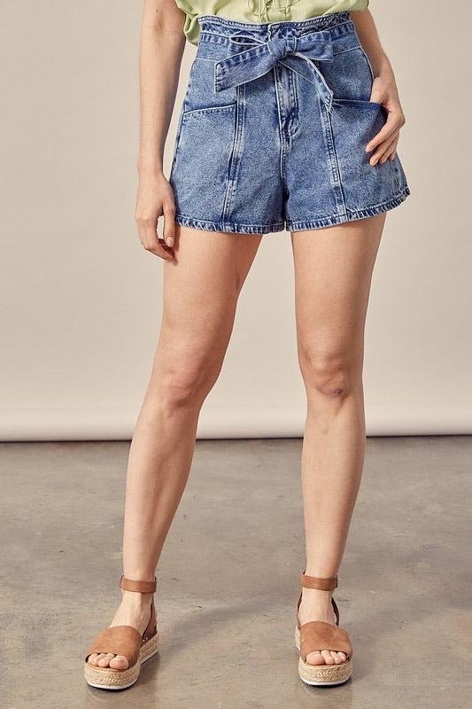 Denim Shorts With Tie Belt