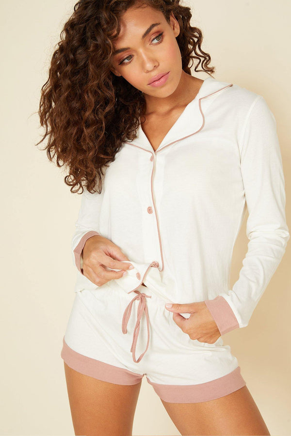 Bella Long Sleeve Top Boxer PJ Set - Traveling Chic Boutique, VA