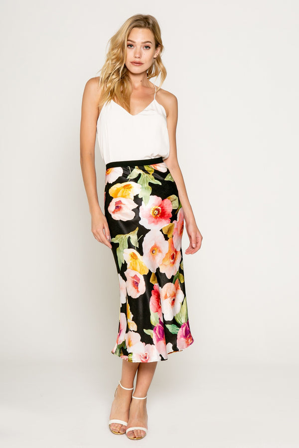 Bias Floral Skirt - Traveling Chic Boutique, VA
