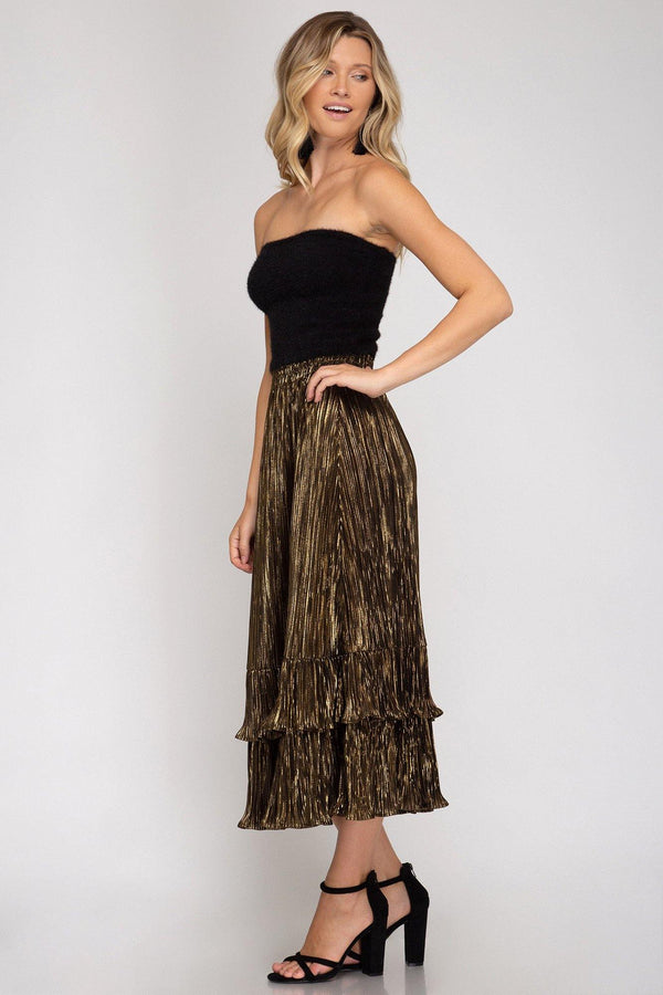 Pleated Lurex Woven Skirt - Traveling Chic Boutique, VA