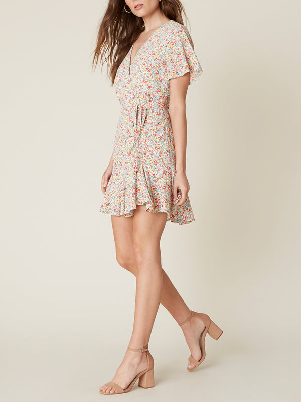 Flower On Floral Dress - Traveling Chic Boutique, VA