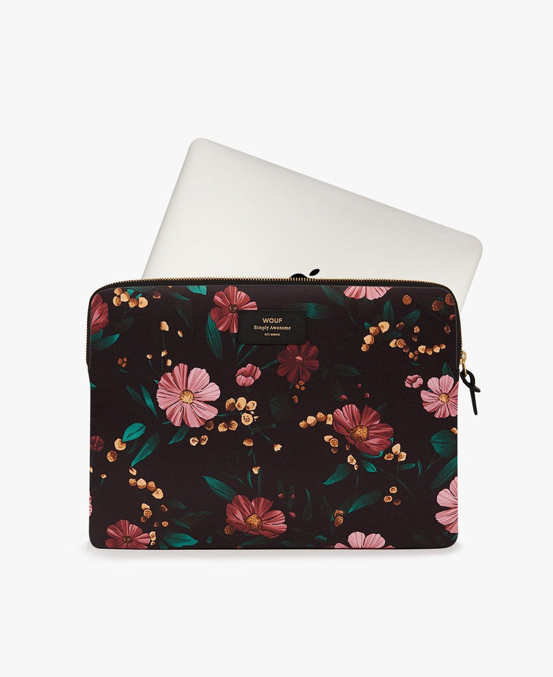 "13"" & 15"" Black Floral Laptop Sleeve"