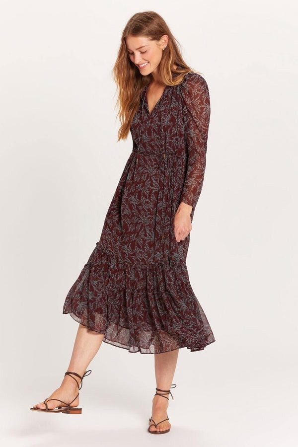 Brown Baby's Breath Puff Sleeve Maxi Dress