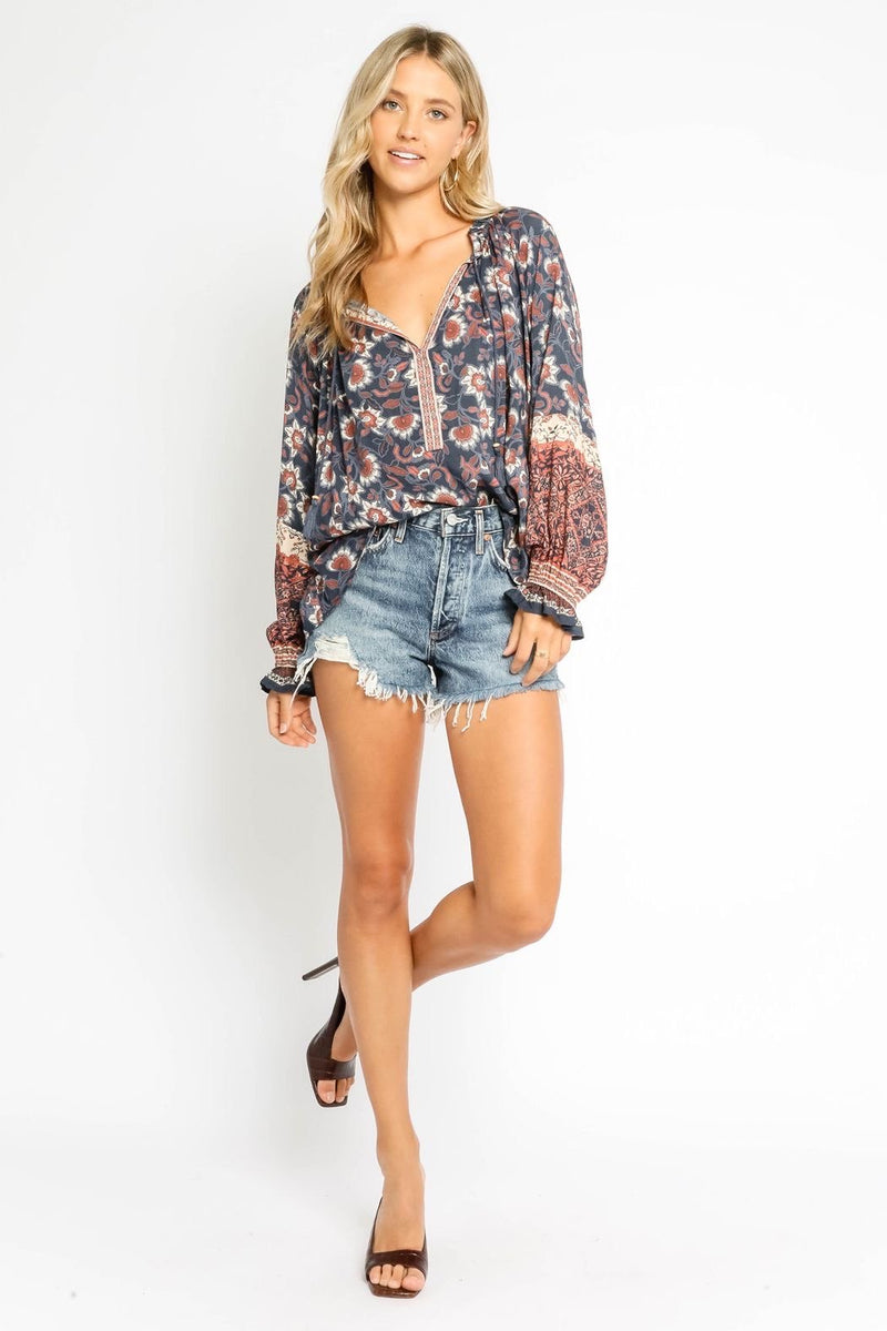 Navy Print Blouse - Traveling Chic Boutique, VA