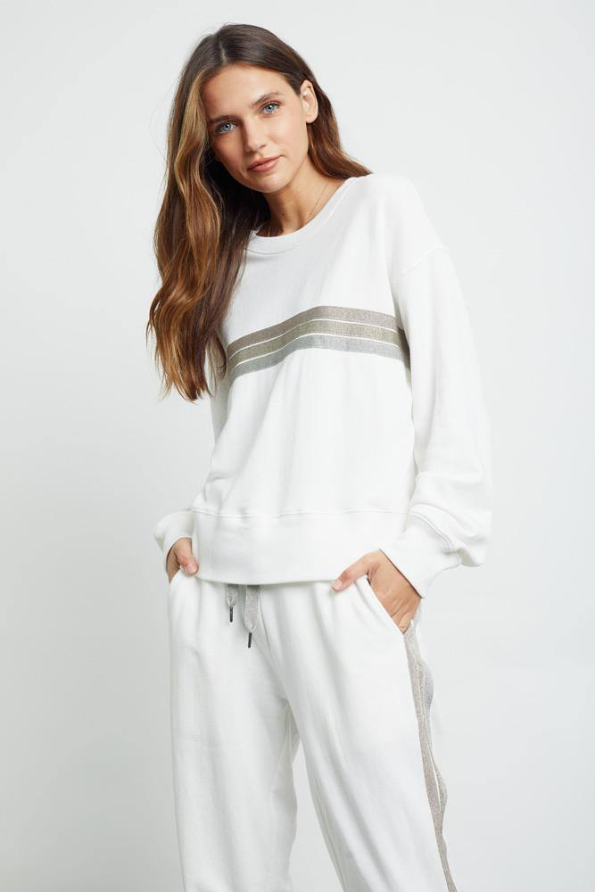 Ramona Sweatshirt in White Metallic