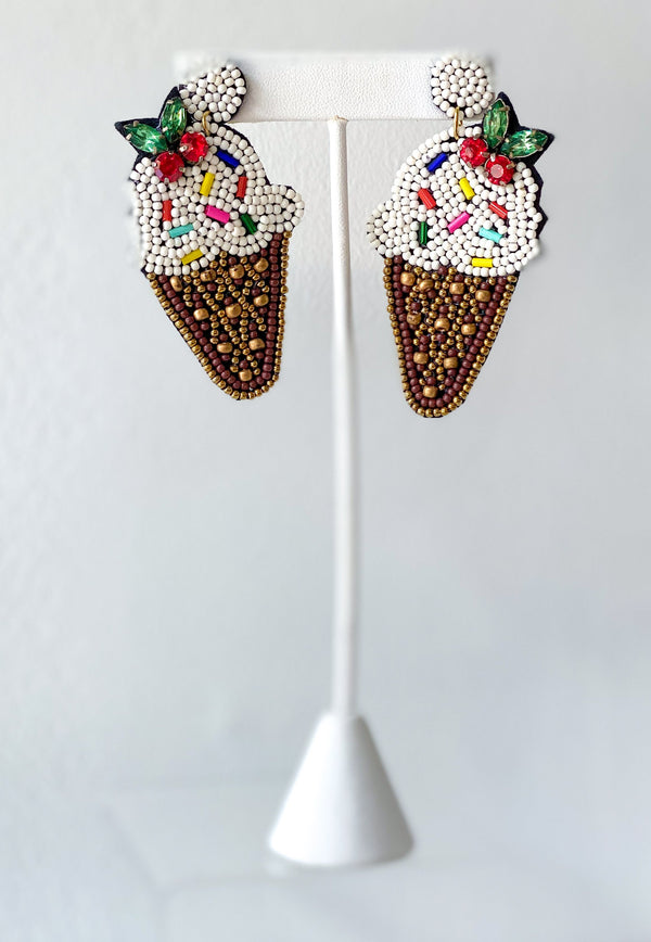 Ice Cream Cone Earrings - Traveling Chic Boutique, VA
