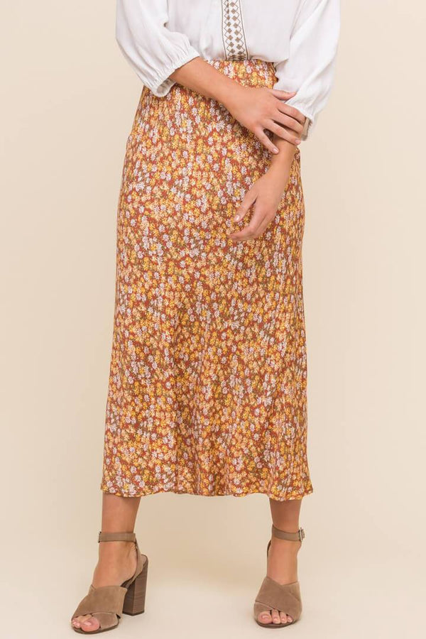 Printed Midi Skirt - Traveling Chic Boutique, VA