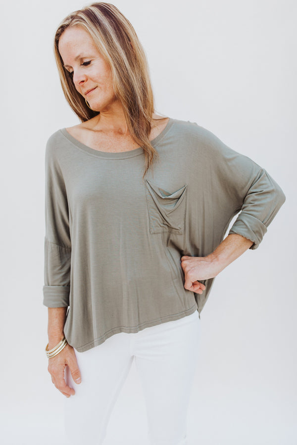 Long Sleeve Tee with Pocket - Traveling Chic Boutique, VA