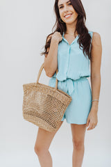 Button Up Collared Romper - Traveling Chic Boutique, VA
