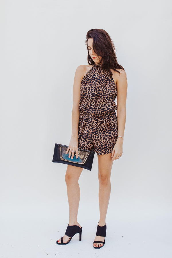 Cheetah Pleated Romper - Traveling Chic Boutique, VA