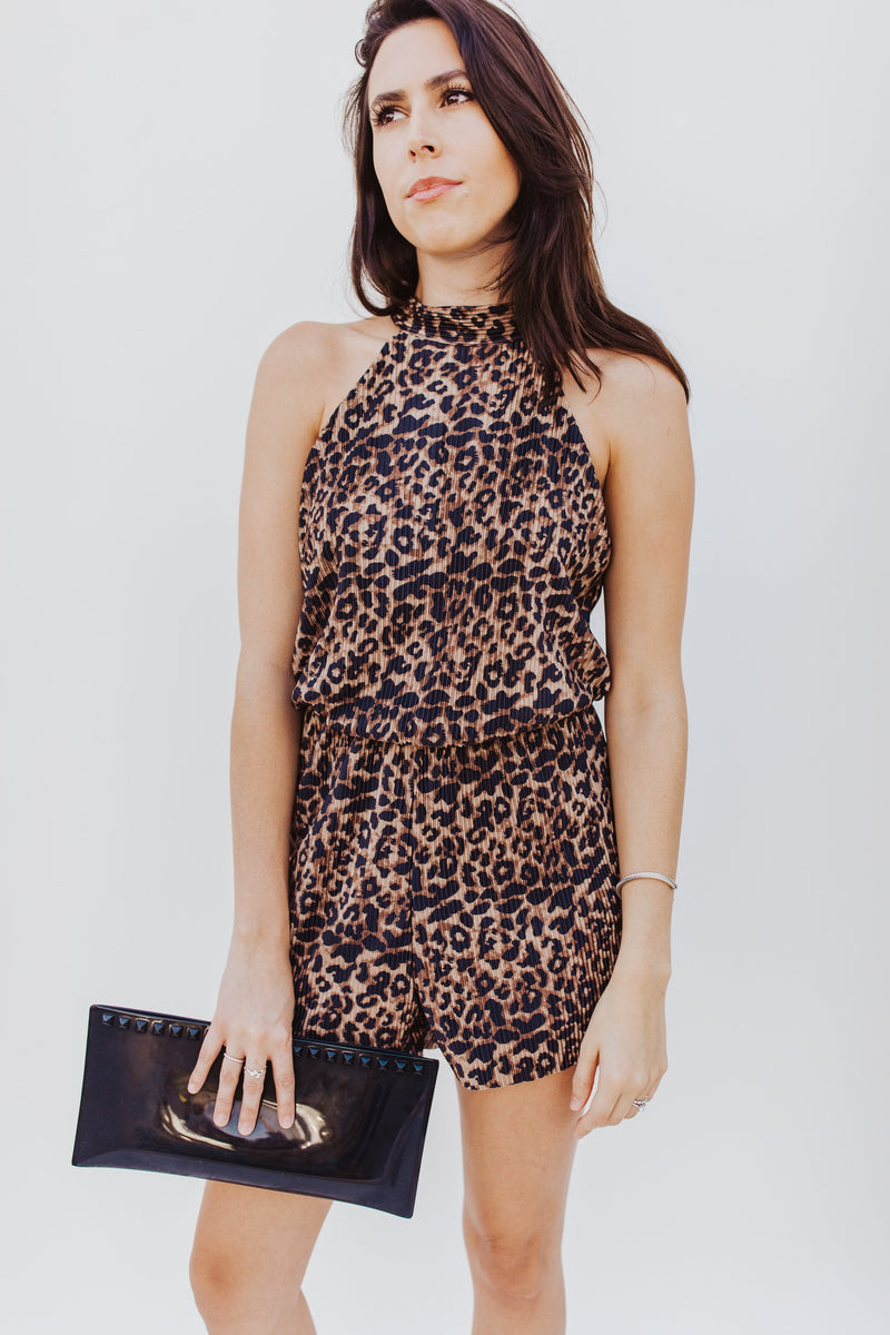 Cheetah Pleated Romper