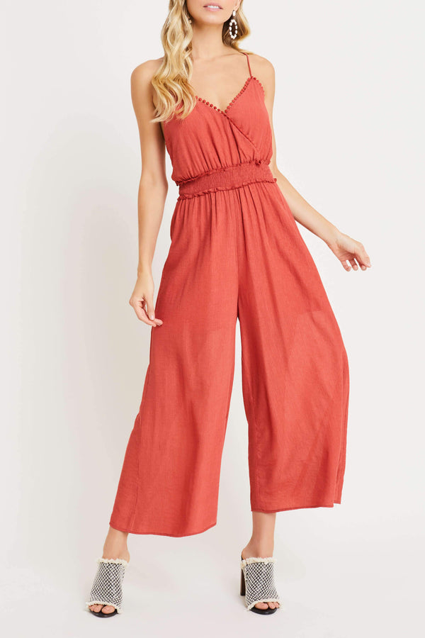 Strappy Back Smocked Jumpsuit