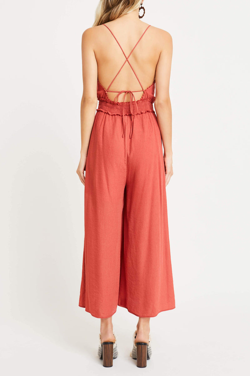 Strappy Back Smocked Jumpsuit - Traveling Chic Boutique, VA