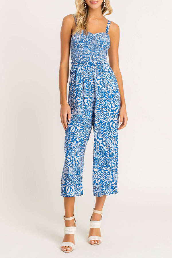 Printed Sweetheart Jumpsuit - Traveling Chic Boutique, VA