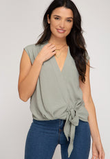 Sleeveless Woven Tie Top - Traveling Chic Boutique, VA