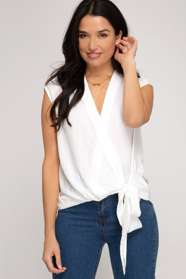 Sleeveless Woven Tie Top