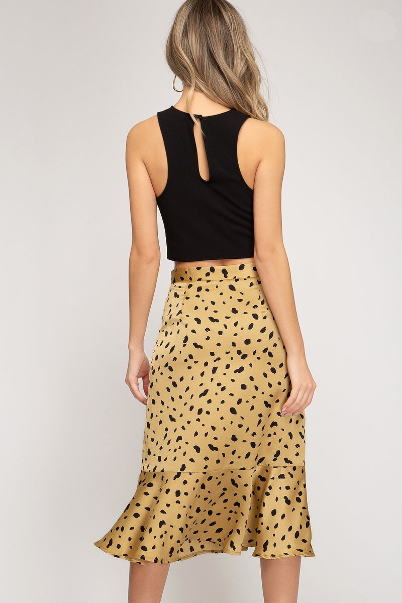 Spotted Faux Wrap Skirt
