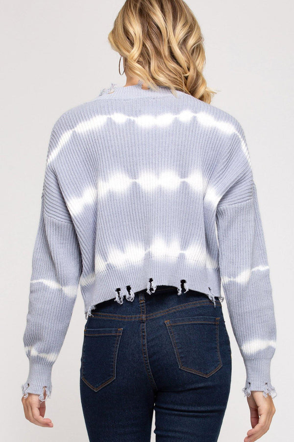 Raw Hem Tie Dye Sweater