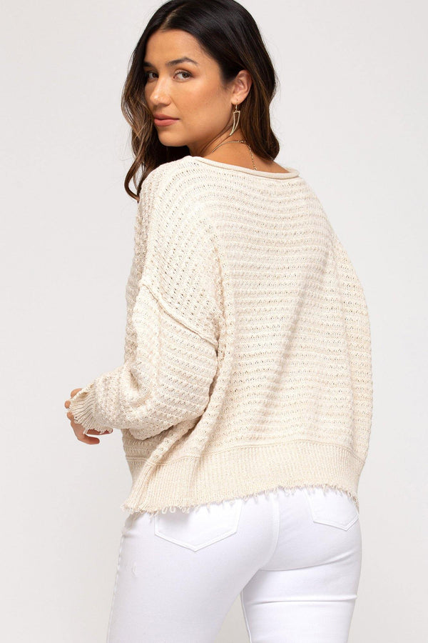 Distressed Hem Sweater