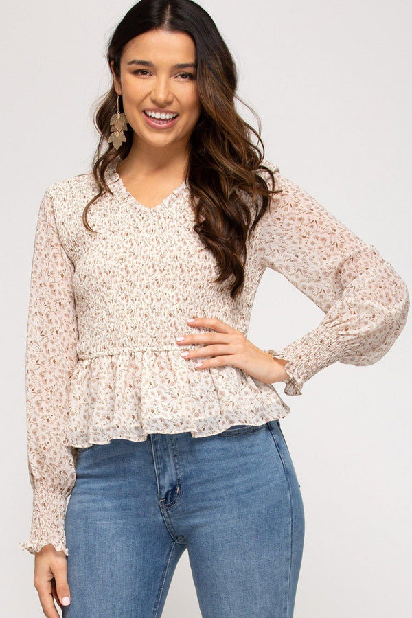 Puff Sleeve Smocked Top