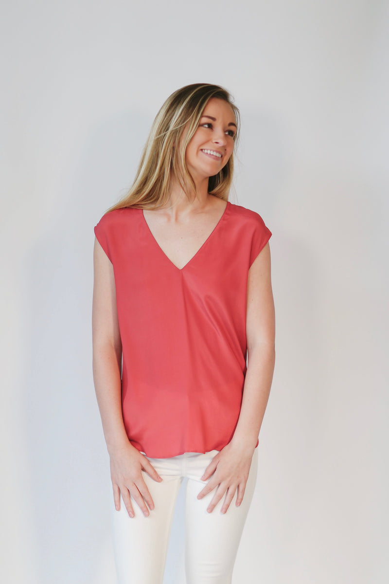 V Neck Silk Top