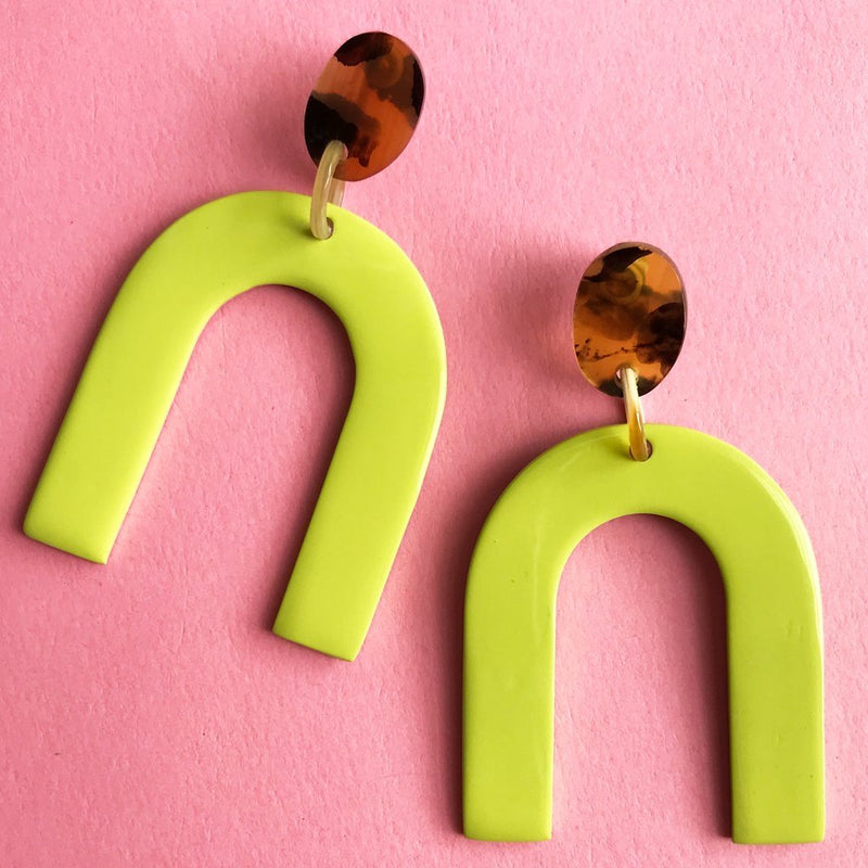 Key Lime Horseshoe Earrings - Traveling Chic Boutique, VA