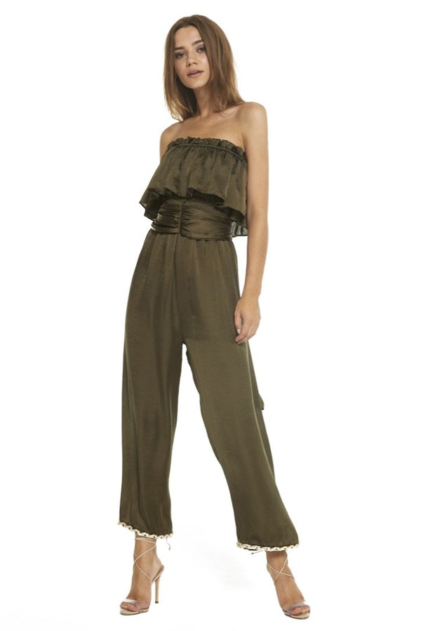 Satin Strapless Jumpsuit - Traveling Chic Boutique, VA