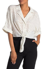 Gardenia Dot Print Tie Top - Traveling Chic Boutique, VA