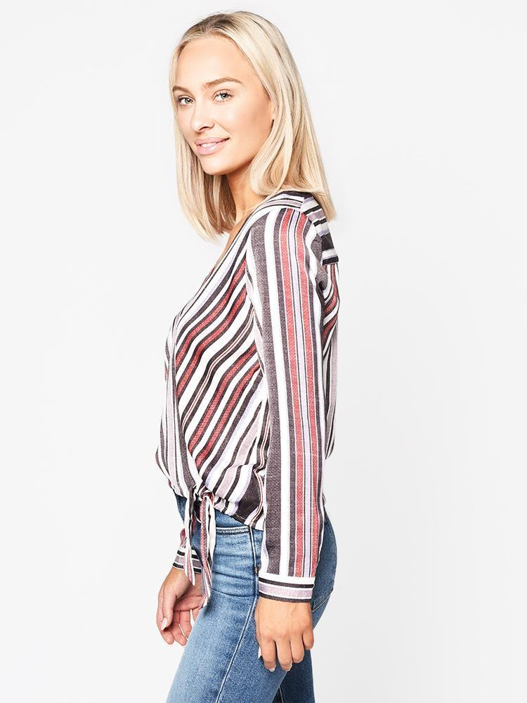 Along The Lines Wrap Blouse - Traveling Chic Boutique, VA