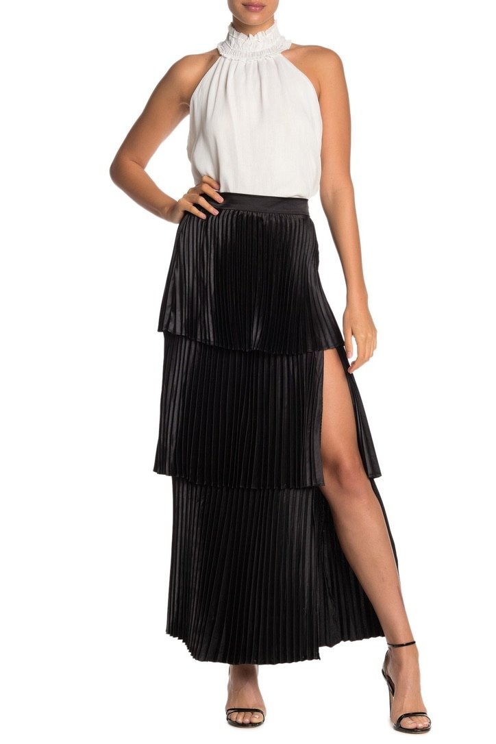Tiered Pleated Maxi Skirt - Traveling Chic Boutique, VA