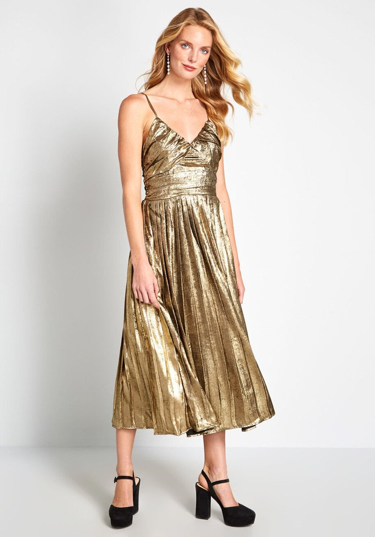 The Golden Hour Pleated Midi Dress - Traveling Chic Boutique, VA