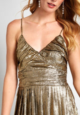 The Golden Hour Pleated Midi Dress