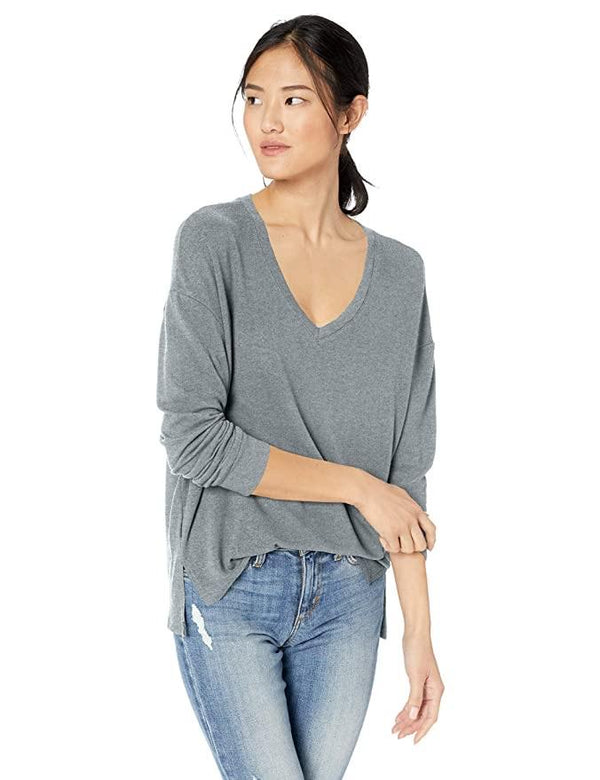 Grey V-Neck Sweatshirt - Traveling Chic Boutique, VA